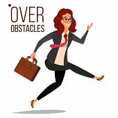 Business Woman Jumping Over Obstacles Vector. Leader. Competing Race. Overcoming Obstacles, Achievin poster