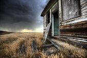 pic of wooden shack  - Abandoned Farmhouse Saskatchewan Canada sunset and prairie view - JPG