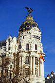 Metropolis Building In Madrid, Spain, With Deep Blue Sky poster