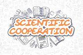 Business Illustration Of Scientific Cooperation. Doodle Orange Inscription Hand Drawn Cartoon Design poster