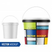 White Matte Plastic Bucket For Food Products, Paint, Paste, Putty. 900 Ml. Realistic Packaging Mocku poster