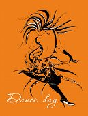 Dance Day. Greeting Card.  Dancing Girl. Dancer. The Girl Moves In A Fast Rhythm Of Dance. Stylish G poster