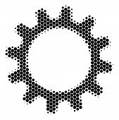 Halftone Dot Cogwheel Icon. Pictogram On A White Background. Vector Composition Of Cogwheel Icon Com poster