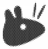 Halftone Circle Mouse Head Icon. Pictogram On A White Background. Vector Pattern Of Mouse Head Icon  poster