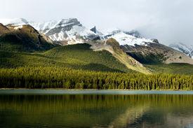 picture of mountain-range  - Rockies mountain range reflecting in Maligne lake Jasper national park - JPG
