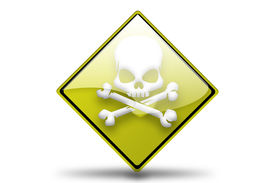 image of skull cross bones  - Road side icon warning sign with skull and cross bones - JPG