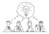 Vector Funny Comic Cartoon Drawing Of Business Team Meeting And Brainstorming. Team Is Thinking And  poster