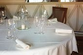 Dining Table Set Up And Set Up With A Lot Of Elegance In The Dining Room Of A Restaurant Or The Dini poster
