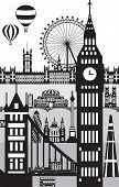 Vertical Poster Of Main Landmarks Of London. City Skyline Vector Illustration In Black Color Isolate poster