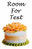 Cake. Fresh Birthday Cake. Isolated on white. Room for text. Clipping Path. Cake is enjoyed world wi poster