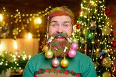 Happy Santa Man With Decorated Beard. Decorated Beard. Merry Christmas And Happy New Year. Smiling B poster