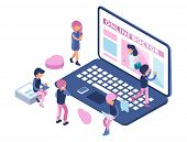 Online Doctor Concept. Internet Medical Consultation. Appointment To Doctor Online. Isometric People poster