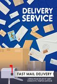 Mail Delivery, Post Office Logistics And Shipping Transportation Service. Vector Newspapers, Journal poster