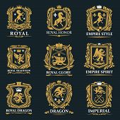 Heraldic Animals, Royal Heraldry Shields With Pegasus Horse, Griffin Lion And Medieval Crowns. Vecto poster