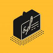 Isometric Signed Document Line Icon Isolated On Yellow Background. Pen Signing A Contract With Signa poster