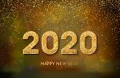 2020 Happy New Year. Golden Numbers And Glitter On Dark Background. New Year 2020 Greeting Card. Vec poster