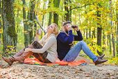 Happy Loving Couple Relaxing In Park Together. Couple In Love Tourists Relaxing Picnic Blanket. Man  poster