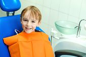 Smiling Little Boy In The Dentist Chair, Close Up. Child During Inspection Of Oral Cavity. Healthcar poster