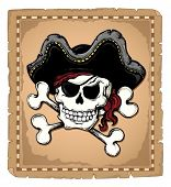 Vintage pirate skull theme 2 - vector illustration.