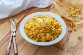 Delicious Macaroni And Cheddar Cheese Shell Noodles In A Bowl poster