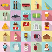 Swiss Icons Set. Flat Set Of Swiss Vector Icons For Web Design poster
