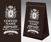 Paper Brown Packaging With Label For Freshly Roasted Coffee Bean. Vector Coffee Label With Hand Draw poster