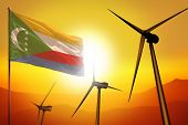 Comoros Wind Energy, Alternative Energy Environment Concept With Turbines And Flag On Sunset - Alter poster