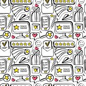 Seamless Pattern Customer Feedback, Positive Review. High Rating In Application. Hand Drawn Doodle B poster