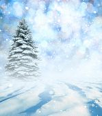 Winter landscape with New Years background.Christmas landscape with snow and fir trees. Merry Chris poster