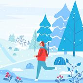 Man Wearing Earmuffs And Warm Clothes Running In Forest. Snowing Weather In Winter Landscape With Pi poster