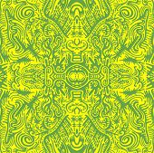 Bright Sunny Psychedelic Trippy Abstract Mandala With Original Patterns, Juicy Contour Green On A Ye poster