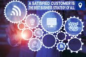 Word Writing Text A Satisfied Customer Is The Be. Business Concept For A Satisfied Customer Is The B poster
