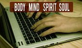 Text Sign Showing Body Mind Spirit Soul. Conceptual Photo Personal Balance Therapy Conciousness Stat poster
