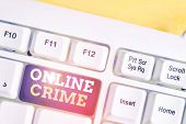 Word Writing Text Online Crime. Business Concept For Crime Or Illegal Online Activity Committed On T poster
