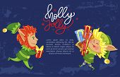 Holly Greeting Postcard With Elf Fairy Character Holding Present. Winter Holiday Postcard Helper Wit poster