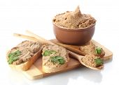image of canard  - Fresh pate with bread on wooden board isolated on white - JPG