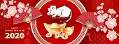 White Metal Rat Is A Symbol Of 2020 Chinese New Year. Horizontal Banner With Realistic Gold Ingots Y poster