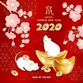 White Metal Rat Is A Symbol Of 2020 Chinese New Year. Greeting Card With Realistic Gold Ingots Yuan  poster