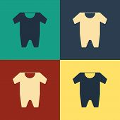 Color Baby Clothes Icon Isolated On Color Background. Baby Clothing For Baby Girl And Boy. Baby Body poster