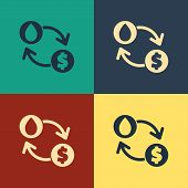 Color Oil Exchange, Water Transfer, Convert Icon Isolated On Color Background. Vintage Style Drawing poster