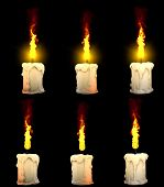 Cute Glowing Thick White Wax Candle Isolated Render On Black With And Without Highlight - Warm Conce poster