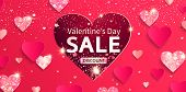 Valentines Day Sale Banner With Glitters And Shiny Hearts. Discount Offer With Pink Abstract Backgro poster
