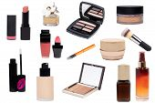 Collage Of Make Up Cosmetics And Tools.  Set Of Make Up Brushes, Liquid Make-up Pillow, Skin Care Pr poster