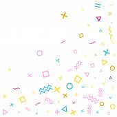 Memphis Style Geometric Confetti Vector Background With Triangle, Circle, Square Shapes, Zigzag And  poster