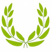 Laurel Wreath Green Leaves Icon Sign Symbol Of Glory, Victory Or Peace, Vector Laurel Wreath Sign Of poster