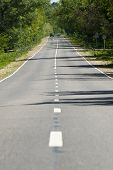 The Road That Goes Into The Distance. The Road With An Intermittent Dividing Strip And Trees Along T poster