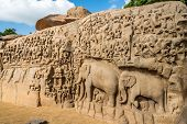Largest Rock Reliefs In Asia - The Descent Of The Ganges In Mamallapuram - Tamil Nadu,india poster