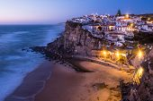 Azenhas Do Mar Village At Dusk, Sintra Portugal poster