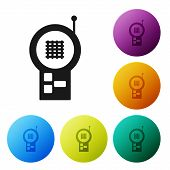 Black Baby Monitor Walkie Talkie Icon Isolated On White Background. Set Icons Colorful Circle Button poster