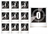 stock photo of count down  - Collection of instant photographs with film type count down numbers - JPG
